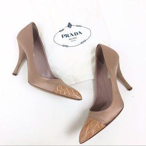 Prada size 9 / 39 EU Blush & Tan Pump Heel Shoes